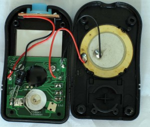 The insides of the counter.  The piezo speaker on the right can be set to give audio feedback when the count changes.