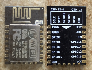 Front and Back of the ESP8266 (12E)